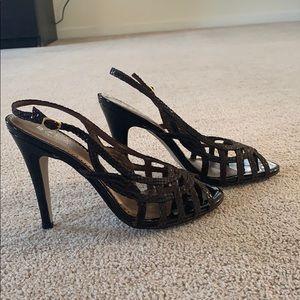 Strappy brown lizard sandals